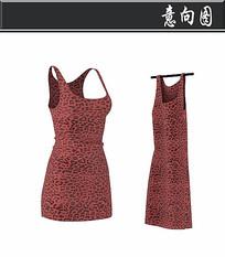 红色豹纹背心3D模型