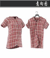 红色方格女士衬衫3D模型