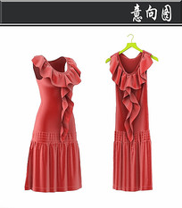红色连衣裙3D模型