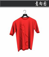 红色男士短袖3D模型