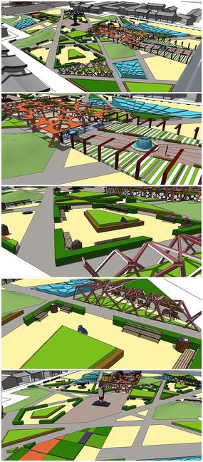 某广场景观建筑规划SU模型