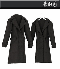 男士灰色大衣3D模型