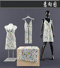 女士碎花连衣裙3D模型