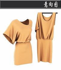 女士土黄色短袖3D模型