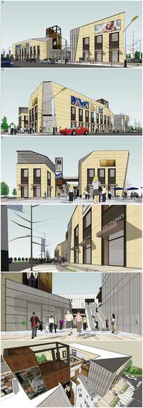 现代小型商业街区草图大师模型