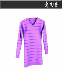 紫色条纹连衣裙3D模型