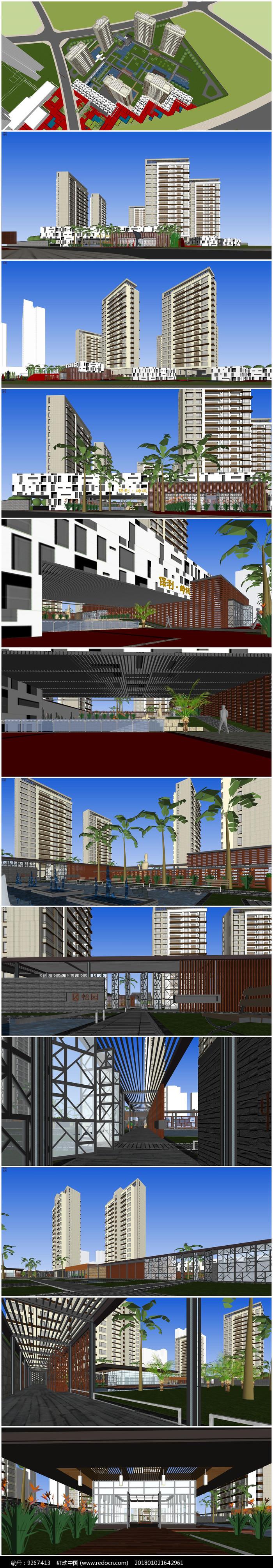 珠海新亚洲风格高层SU模型图片