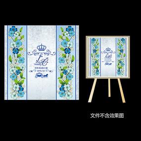 时尚蓝色花卉婚礼迎宾水牌设计