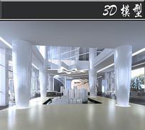 白色售楼处3D模型