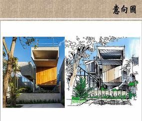 别墅建筑手绘 JPG
