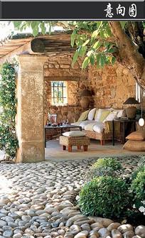 复古石头墙壁私家庭院意向图
