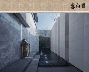 建筑庭院水景意向图  JPG