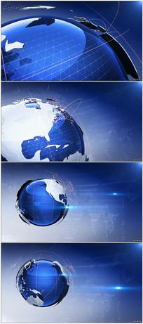 蓝色地球旋转新闻宣传背景视频