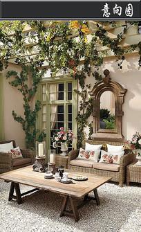 欧式雕花私家庭院意向图