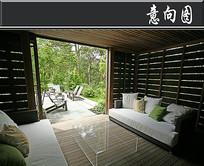全木质复古私家庭院意向图