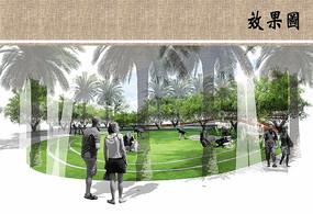 公园草坪拼贴风格ps素材