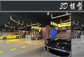 工装风汽车展厅3D模型