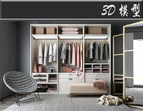 简约家居衣柜3D模型