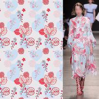 矢量印花裙子面料紅花紋