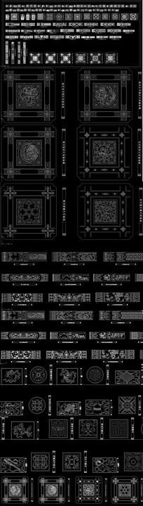 CAD中式雕花明清建筑构件