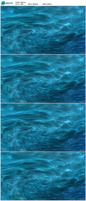 蓝色清澈水流视频