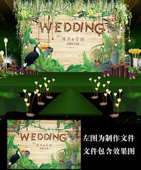 木纹绿色森系婚礼甜品台设计