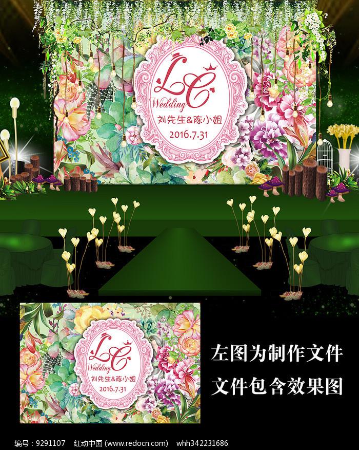 时尚花卉森系花墙婚礼背景图片