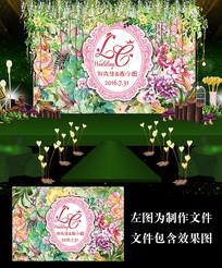 时尚花卉森系花墙婚礼背景