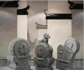 新中式抱鼓石雕塑