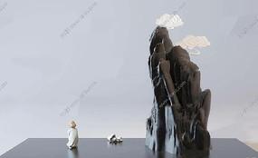 新中式假山人物雕塑摆件