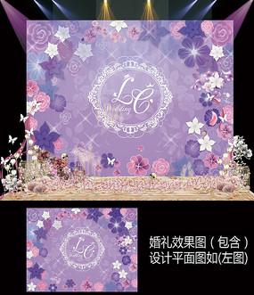 时尚紫色纸花婚礼甜品台设计