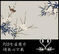 工笔国画手绘竹子花鸟背景墙