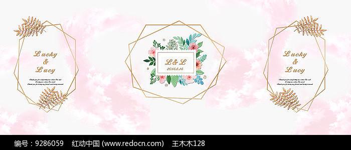 金属感粉色浪漫婚礼迎宾牌图片