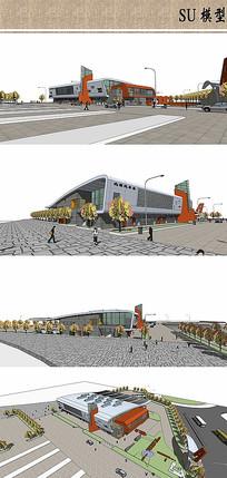 汽车站su模型