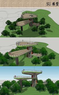 双层景观塔SU模型设计