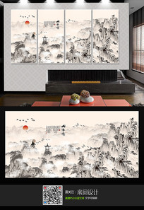 大气山水背景墙装饰画