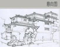 中式瓦顶建筑线稿