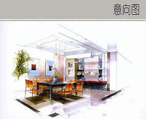 住宅餐间手绘图 JPG