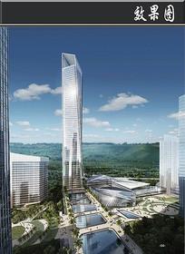 高科技软件园区地标塔楼建筑