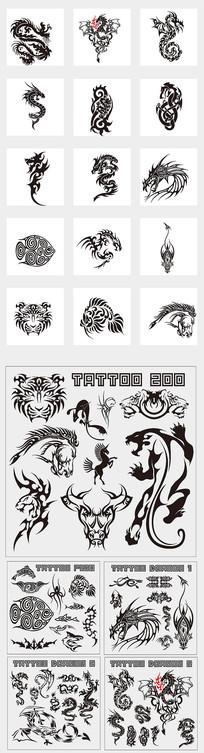猛獸青龍紋身刺青圖案
