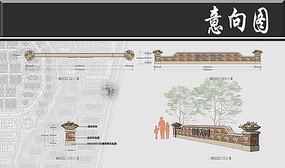 高層住宅LOGO墻剖面圖