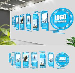 经典蓝色大气企业文化墙展板