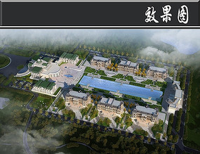 学校建筑鸟瞰图PSD