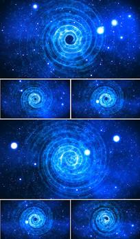 蓝色星空视频旋转舞蹈背景视频