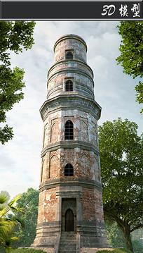 5层古建筑塔3D模型