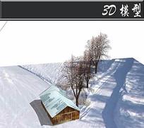 冬天的枯树木屋雪地场景SU