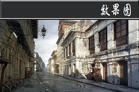 国外破旧古建筑街道效果图