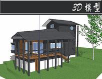 黑色防腐木住宅SU模型