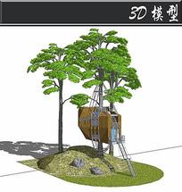树上创意防腐木小盒子SU模型