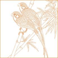 竹纹鸟纹雕刻图案
